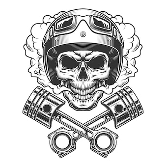Moto racer skull in smoke cloud