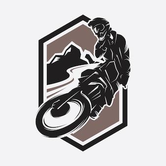 Логотип moto track или motocross jump logo