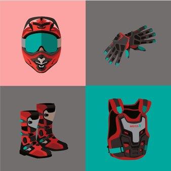 Motoc cross illustration sets