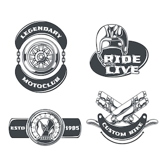 Motoclub set of isolated monochrome emblems with editable text and images of chains wheels and helmet