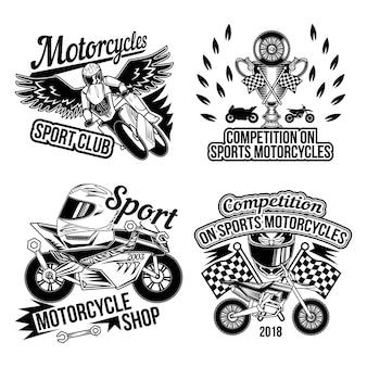 Набор мотоклуба с изолированными монохромными изображениями деталей мотоциклов, колесами, аксессуарами для байкеров и флагом финиша гонки