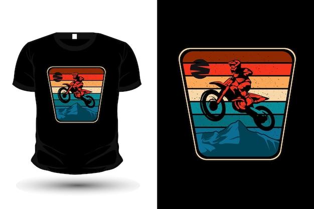 Motocross 모험 상품 실루엣 티셔츠 디자인 복고풍 스타일
