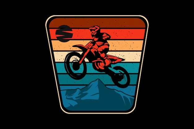 Motocross adventure silhouette design retro style