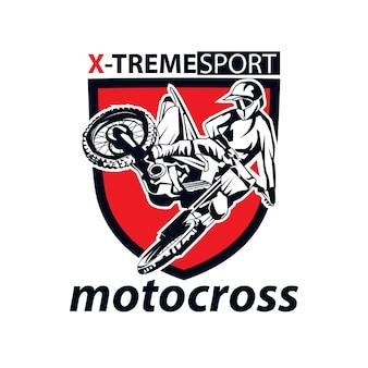Мотокросс, спортивный логотип иллюстрации