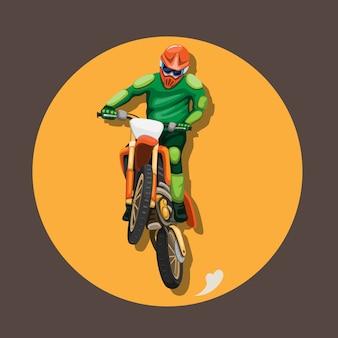 Motocross bike rider jumping pose mascot character symbol concept