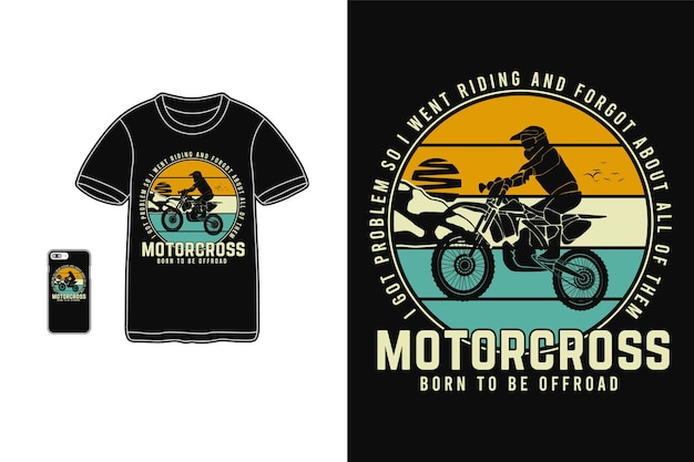 Мотокросс, рожденный для бездорожья, дизайн для футболки с силуэтом в стиле ретро