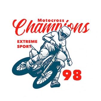 Motocross champions extreme sport illustration