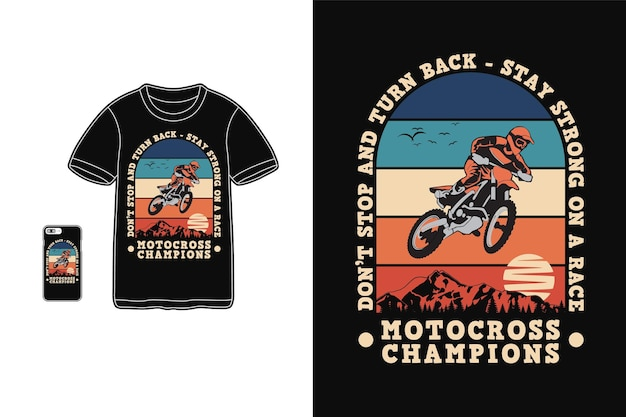 Чемпионы по мотокроссу, дизайн футболки силуэт в стиле ретро