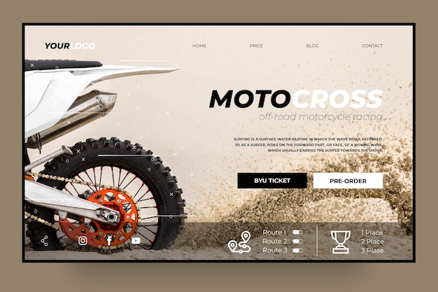 Motocross club landing page template