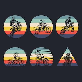 Motocross collection retro illustration