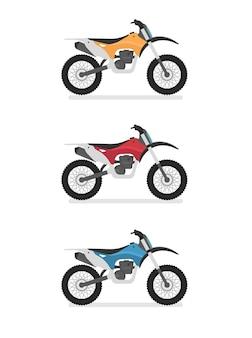モトクロス、エンデューロ、クロスバイク。側面図、プロファイル。フラット漫画スタイル