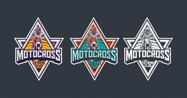 Motocross extreme club premium vintage badge logo design template