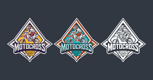 Motocross extreme club premium vintage badge logo label design template pack