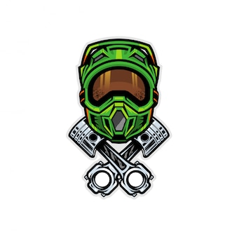 Motocross helmet and piston badge