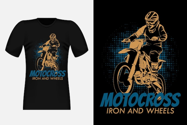 Motocross 철과 바퀴 실루엣 빈티지 티셔츠 디자인