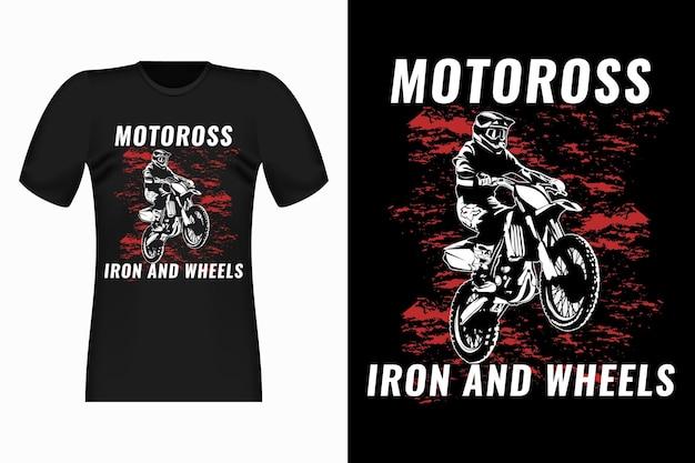 Motocross 철 및 바퀴 빈티지 티셔츠 디자인