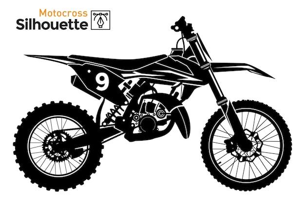 Мотокросс. изолированный силуэт мотоцикла.