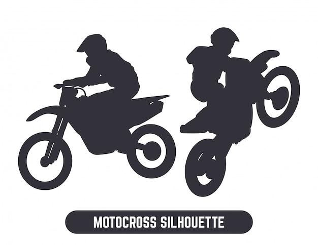 Motocross jump silhouette set