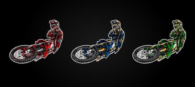 Motocross jumping illustration