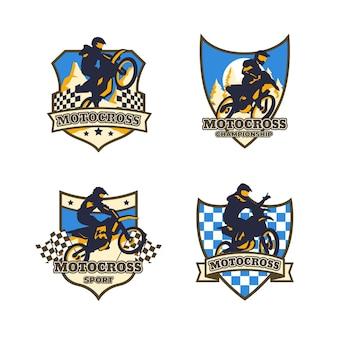 Коллекция логотипов мотокросса Premium векторы