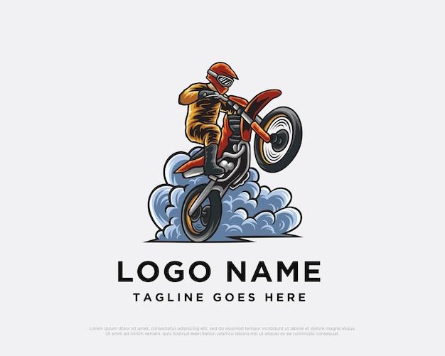 Мотокросс логотип дизайн иллюстрация