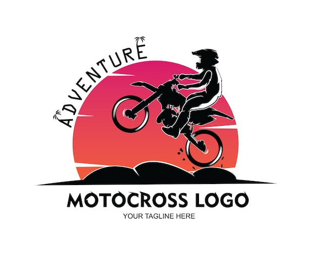 Мотокросс дизайн логотипа векторные иллюстрации
