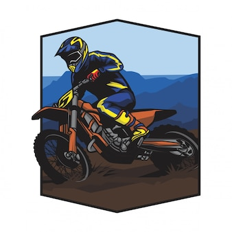 Motocross in race mountain vector