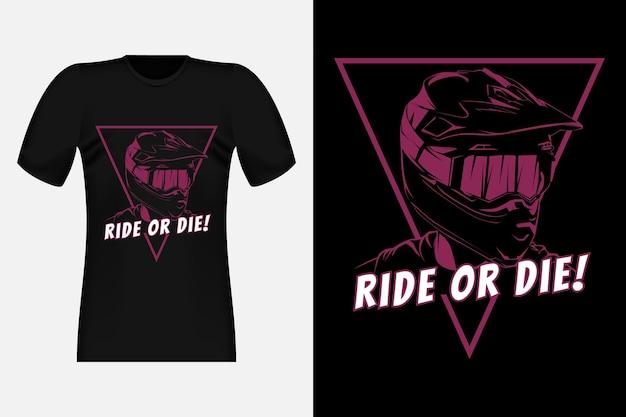 모토크로스 라이드 오어 다이 실루엣 빈티지 티셔츠 디자인