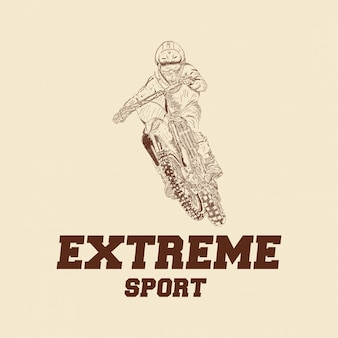 Motocross rider badge logo