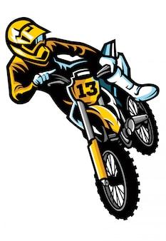 Motocross rider in jumping stunt