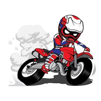 Motocross rider power slide motorcycle cartoon vector