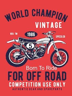 Motocross sport - grunge poster hand drawing
