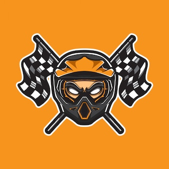 Motocross sport logo with checkered flags