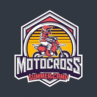 Motocross summer camp for kids premium vintage badge logo design template