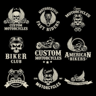 Motor bike shop logo set Free Vector