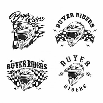 Motor cross helmet vector
