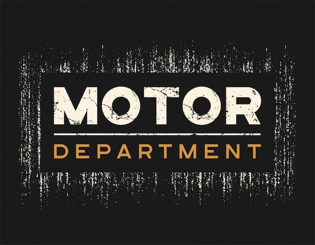 Motor dept tshirt and apparel  with grunge effect.