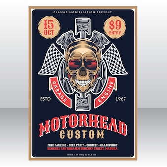 Motor head custom garage vintage poster template