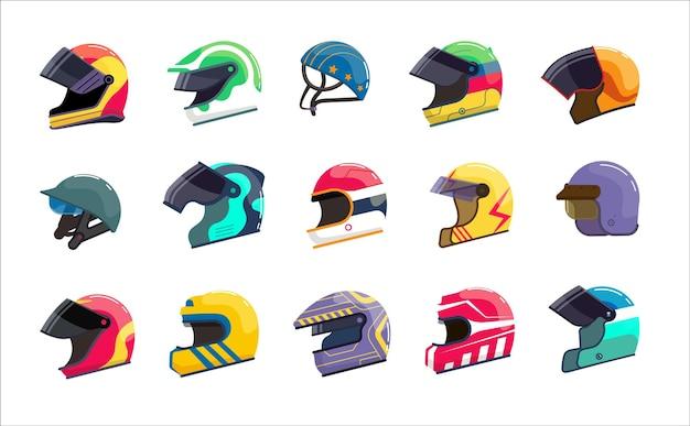 ヘッドプロテクトセット用バイザー付きモーターヘルメットレーシングユニフォーム。バイカーの作業服、レーサーのヘルメット、モトスポーツヘッドギア機器デザインアクセサリーベクトルイラスト白い背景で隔離