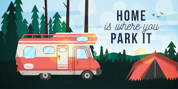 Motor home on camping postcard
