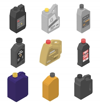 Motor oil icons set, isometric style
