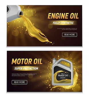 Motor oil realistic advertising banners with fully synthetic and super protection properties promotional text  illustration