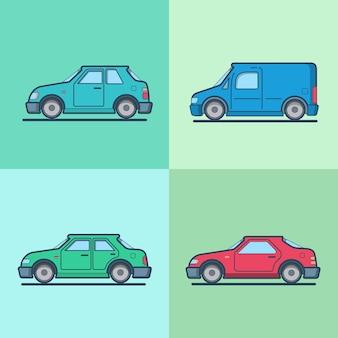 Motor passenger car van sportscar sedan hatchback road transport set.