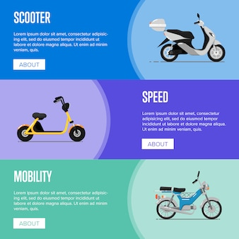 Motor scooter flyers in flat style Premium Vector