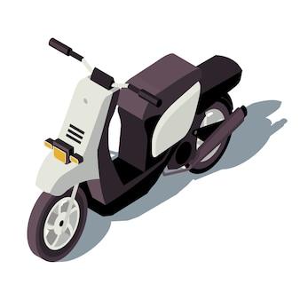 모터 스쿠터 아이소 메트릭 컬러 일러스트입니다. 도시 교통 인포 그래픽. 오토바이. 이륜차. 마을 교통. 흰색 배경에 고립 된 오토바이 3d 개념