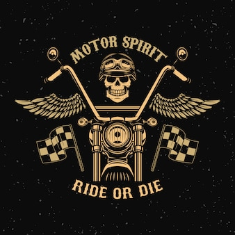 Motor spirit. ride or die. motorcycle with wings. racer skull.  element for poster, emblem, sign, badge.  illustration