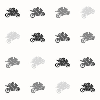 バイクとバイカーの男のパターンイラスト。クリエイティブでスポーツスタイルのイメージ
