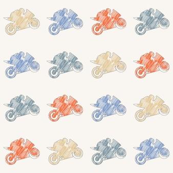 Мотоцикл и байкеры человек шаблон иллюстрации. креативный и спортивный стиль имиджа