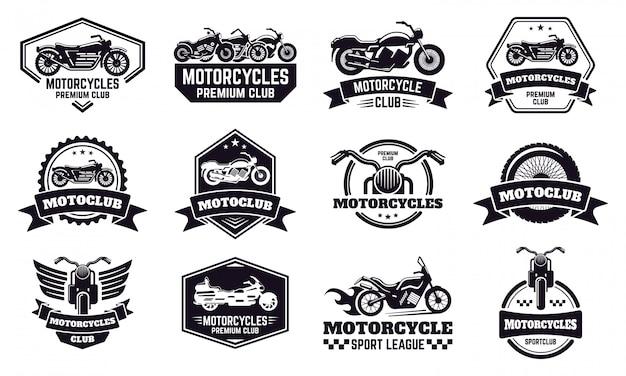 오토바이 배지. 레트로 오토바이 자전거 클럽 엠 블 럼, 경주 및 오토바이 사용자 지정 스탬프, 오토바이 라이더 엠 블 럼 그림 아이콘을 설정합니다. 오토바이 레이서 배지, 오토바이 리그