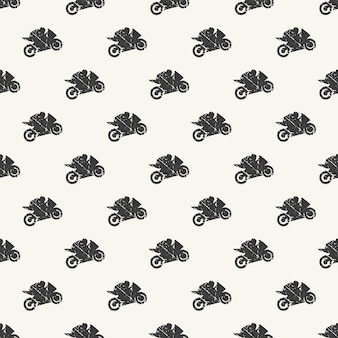 Motorbike and bikers man pattern illustration. creative and sport style image Premium Vector